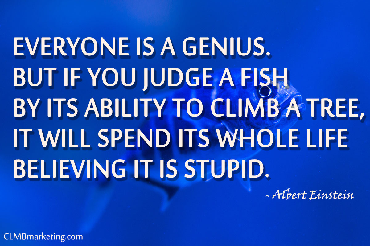 Everyone is a genius. But if you judge a fish by its ability to climb a tree, it will spend its whole life believing it is stupid – Albert Einstein