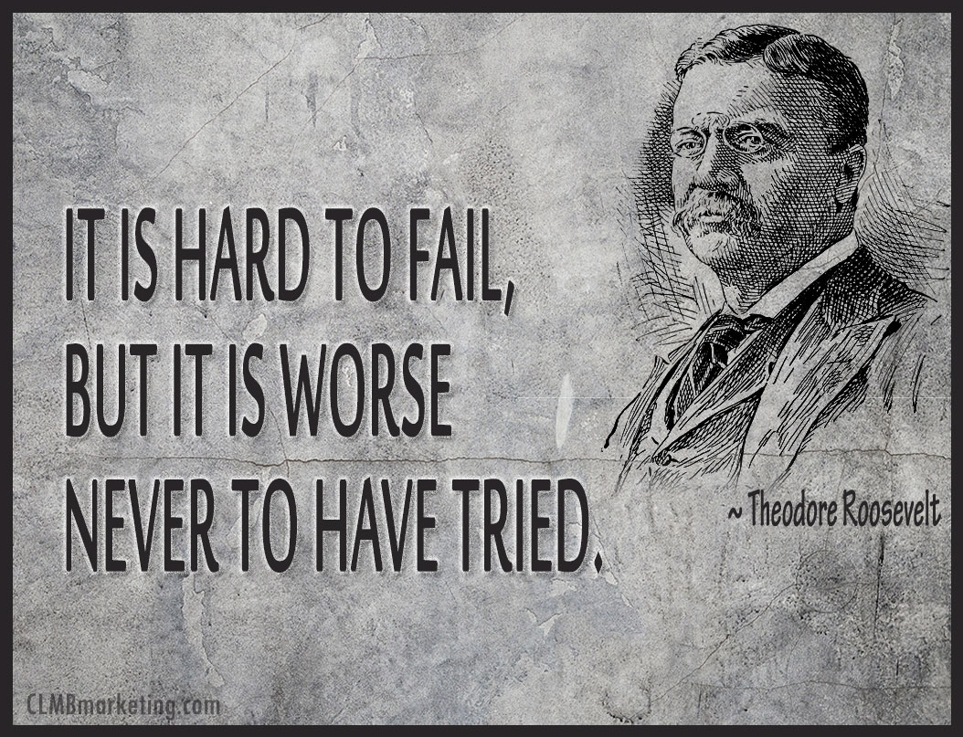 It is hard to fail, but it is worse never to have tried. – Theodore Roosevelt