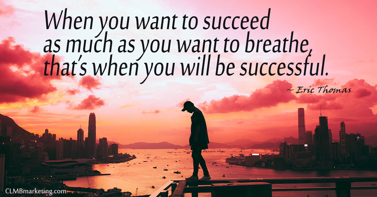 When you want to succeed as much as you want to breathe, that's when you will be successful. - Eric Thomas