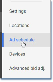 Google ad schedule tool