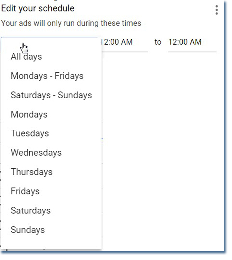 Selecting your dayparting ad schedule in Google Adwords