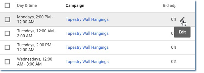 Adding bid adjustments in Google Adwords dayparting tool