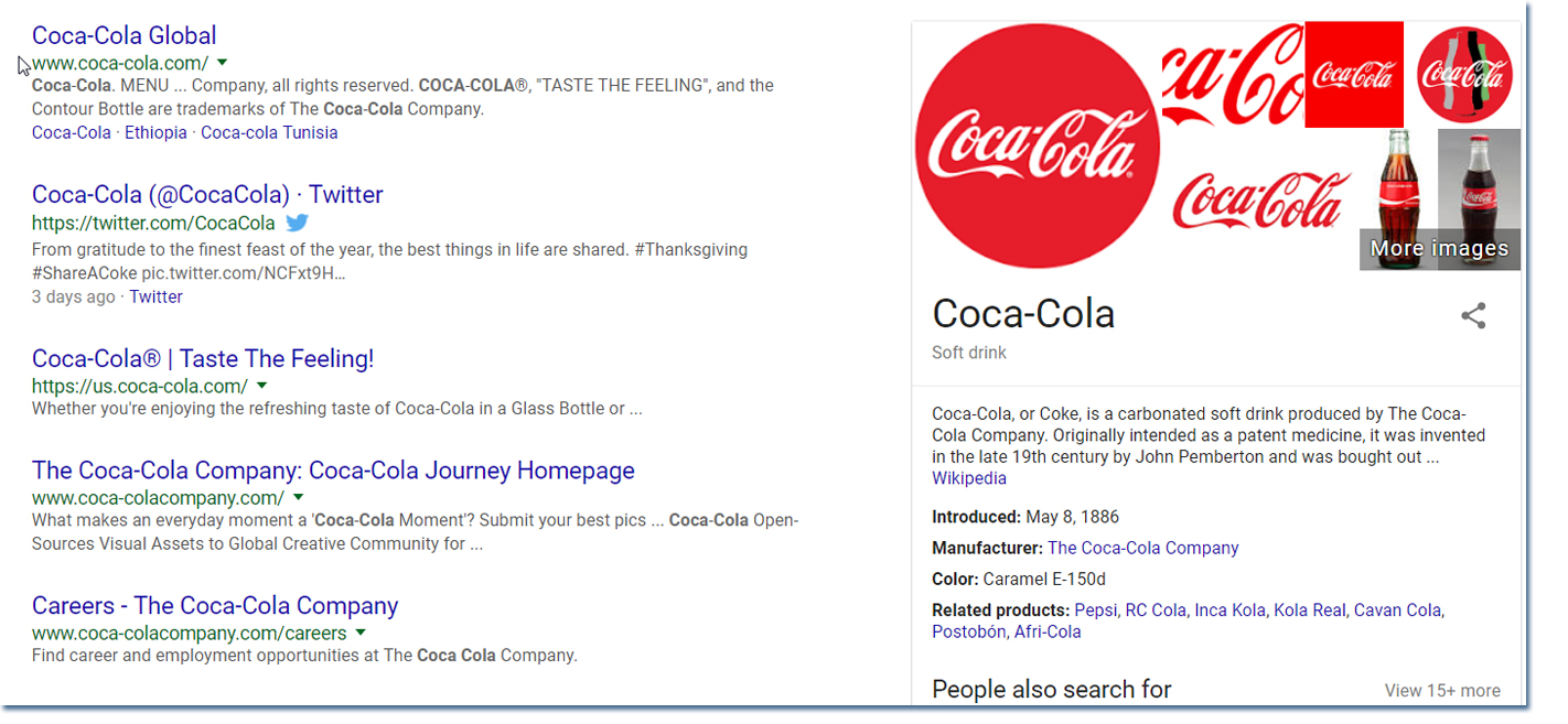 Coca Cola branded search results