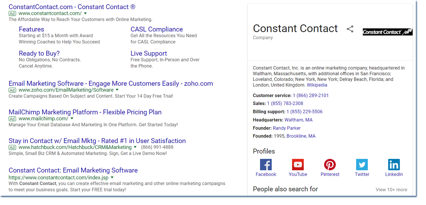 Constant Contact branded search results